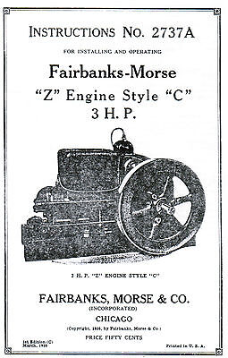 Fairbanks Morse type Z C Gas Engine Motor Manual Book 2737A Spark Plug Hit Miss