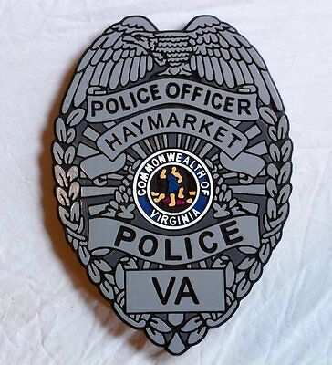 Police  Haymarket Virginia badge Sign 3D routed carved wood plaque Custom