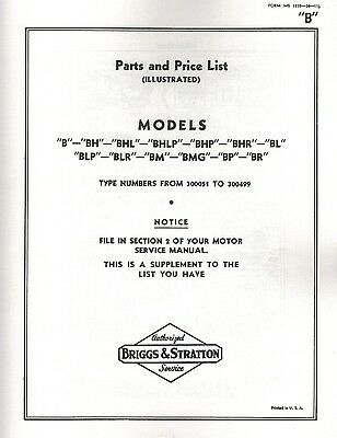 Briggs & Stratton Model B Series Gas Engine Motor Parts List Book Hit & Miss