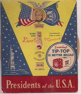 Presidents of the U.S.A. (1951) TIP-TOP BREAD advertising paper wheel card