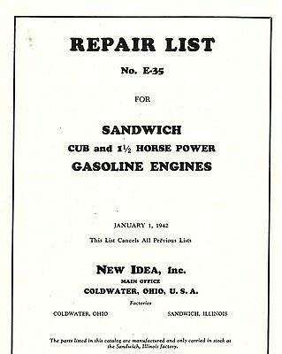 New Idea Sandwich Cub and 1 1/2 HP Gasoline Engine Book Motor Flywheel