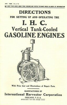 International Vertical Tank-Cooled Gasoline Engines Directions Book IHC Motor