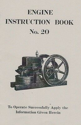 Gas Engine Motor Instruction Book Manual No.20 HIt & Miss Flywheel