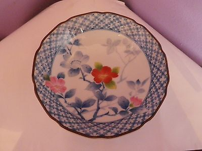 Lovely Vintage Japanese Porcelain Flowers Design Bowl 13.5 Cms Diameter