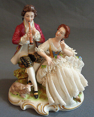 Vintage Dresden Porcelain Lace German Figurine Man w/ Flute Woman Couple Germany