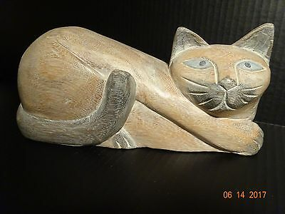 Hand Carved Hand Painted Wooden Cat Statue Collectible Figure