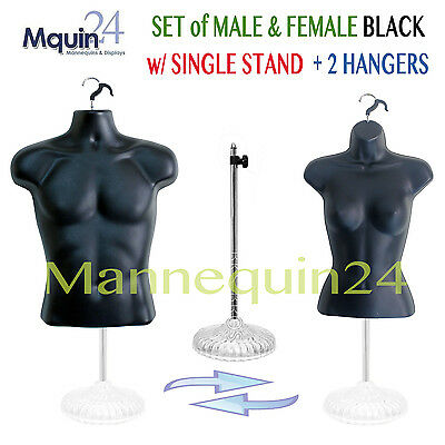 Black Male & Female Torso Mannequin Dress Forms(S-M) + 2 Hangers + 1 Stand