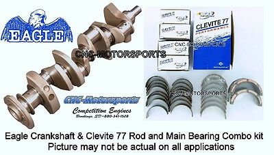 SB Chevy 350 Eagle Cast Steel Crankshaft 3.480 Stroke 2pc with Clevite Bearings