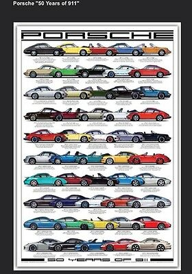 Porsche 50 years of 911 History! One Time Deal! Car Poster FREE SHIPPING In USA!