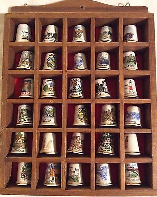 30 fine bone China Thimbles in wooden display case wall hanging cabinet Job Lot