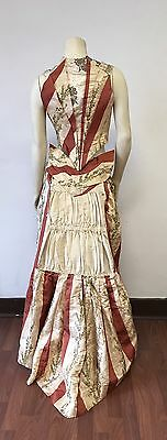 Antique two piece 1880s silk embroidered lamé brocade dress top skirt set