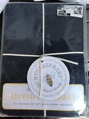 Burt's Bees Baby Solid Jersey Blueberry Fitted Crib Sheet Navy