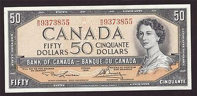 1954 Bank of Canada $50 banknote Lawson Choice UNC64 reverse machine marks