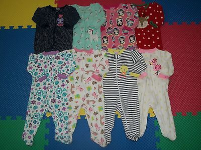 Lot of 8 Baby Girl Footed Sleepers PJ's Sleepwear Clothes 6-9 m Months Gerber+