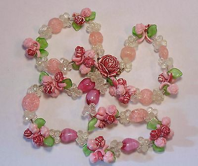 Vintage West Germany Pink Flowers Early Plastic & Art Glass Beaded Necklace
