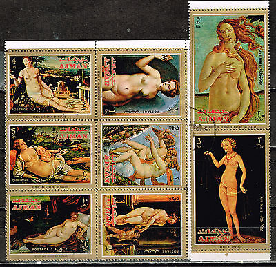 Ajman Art Famous Italian Paintings Venus set 1972
