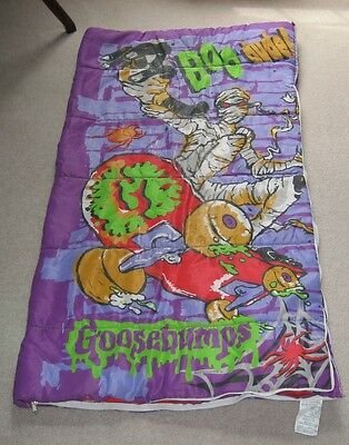 Vintage Goosebumps R.L. Stine Sleeping Bag Skateboarding Mummy Boo Dude EUC