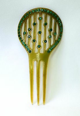 Vintage Green Celluloid & Rhinestone Art Deco Flapper 1920s Hair Comb Jewelry