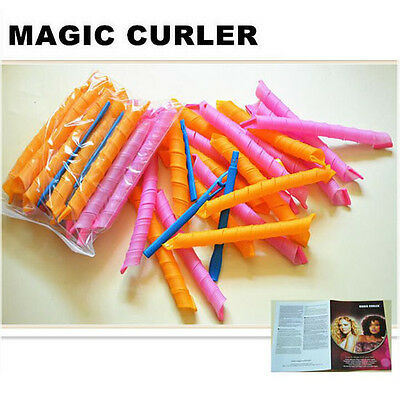 18pcs 55cm Hair Curlers Twist Spiral Circle Curlformers Magic Rollers Styling