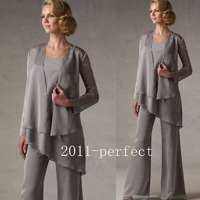 Mother Of Bride Dresses Pant Suit Gray Formal Evening Chiffon 3 Piece Party Gown