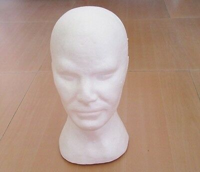 1Pc New White Male Foam Mannequin Head 30.5cm High
