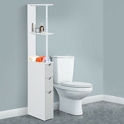 HOMCOM Bathroom Storage Cupboard Thin Cabinet Unit Shelf White w/ Drawers Wooden
