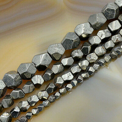 Natural Faceted Pyrite Gemstone Freeform polygonal Beads 15.5'' 4mm 6mm 8mm 10mm