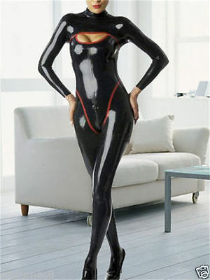 Latex Rubber Black and Red Full-body Tights Catsuit Fashion Suit Size XS~XXL