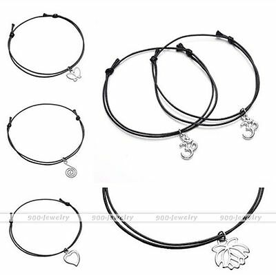 1x Women Men Black Wax Rope Cord Silvery Dangle Charm Anklet Bracelet Adjustable