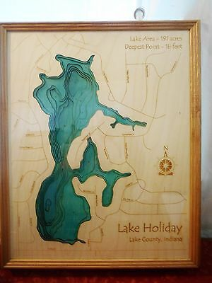 3D Framed Wood Map of Lake Holiday Lake County Crown Point Indiana Bathymetric