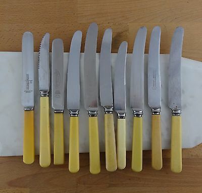 Lot of Faux Bone Handled Knives Flatware Sheffield Assorted Makers