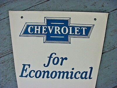 RARE NEAR MINT 1930s Vintage CHEVROLET FOR ECONOMICAL TRANSPORTATION Old Sign