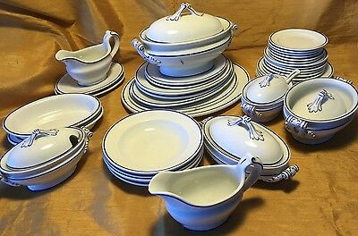 45 Pc Antique 19th c Blue French Provincial Child's Toy Play Dish Set-6 Tureens+