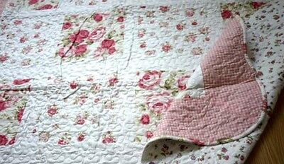 French Country Shabby Chic Throw Quilt Rug Blanket Pink Off White GreenPatchwork