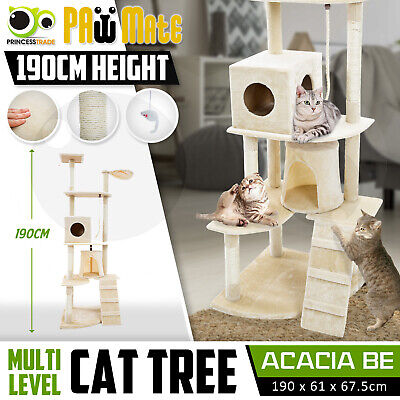 Cat Tree Scratching Post Scratcher Pole Gym House Furniture Multi Level 190cm BE