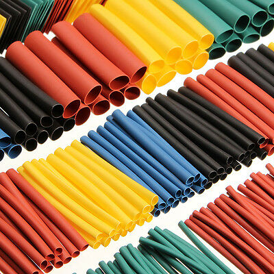 US 520 pcs 5 Colors 10 Sizes Assorted 2:1 Heat Shrink Tubing Wrap Sleeve Kit Top