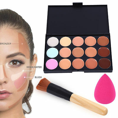 15 Colors Face Cream Concealer Camouflage Makeup Palette Powder Puff Brush Set