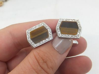 Fine heavy 18ct white gold art deco design tigers eye diamond cufflinks 18k 750