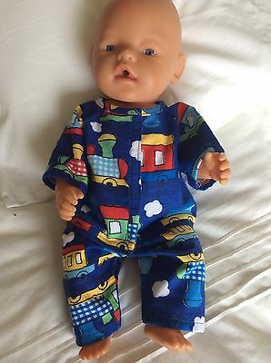 "DOLLS CLOTHES - Pyjamas made to fit 17""  Baby Born Boy Doll. Blue. Trains"