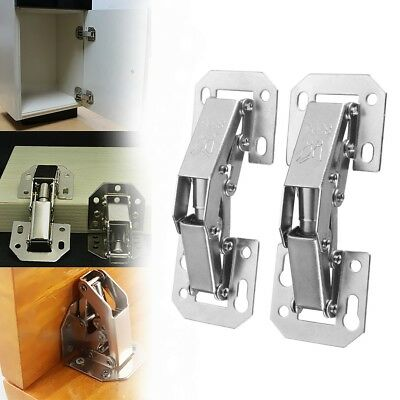 2Pcs 90 Degree Concealed Sprung Door Hinges Kitchen Cabinet Cupboard Soft Close
