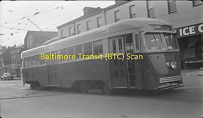 Baltimore Transit (Btc) Original B&w Trolley Negative Of Pcc Car 7321 In 1940's