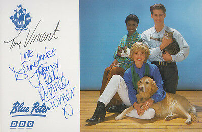Blue Peter Diane Louise Jordan Tim Vincent Hand Signed Group Cast BBC Photo