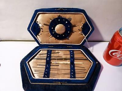 Antique Sewing - Pins - Crochet - Darning Needle Set Etui Table Box