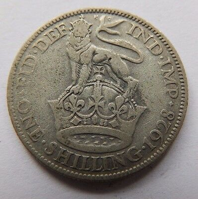 Antique George V Silver Shilling Coin - 1928