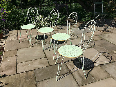 Attractive set of four French metal garden chairs
