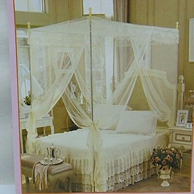 1X White Gorgeous Four Poster Bed Canopy / Mosquito Net