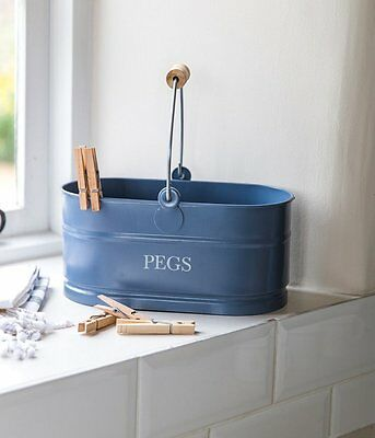 Blue coloured vintage style peg bucket