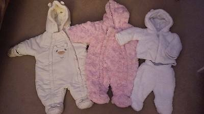 Baby girl snowsuits 0-3 months x 3