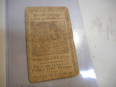 L922-1777 12 SHILLING Continental Currency Colonial Note PENNSYLVANIA APRIL 10TH