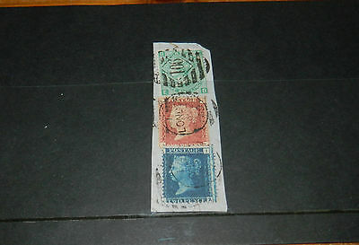 GB QUEEN VICTORIA 2d BLUE, PLATE 12 ON PIECE WITH 1/- PLATE 4 & 1d RED